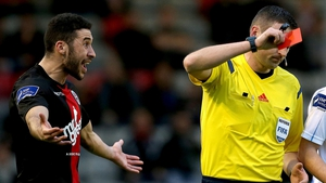 Roberto Lopes of Bohemians is show a straight red card by referee Paul McLaughlin