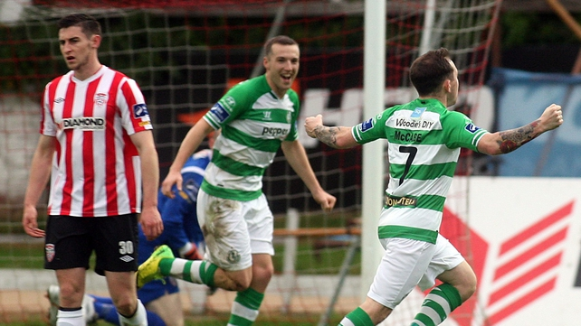 Shamrock Rovers' Gary McCabe celebrates scoring the game's only goal