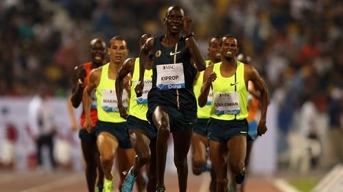 Asbel Kiprop en route to victory in the 1,500m in Doha
