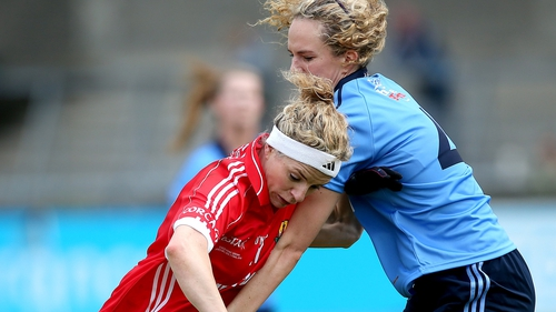 Dublin's Rachel Ruddy and Valerie Mulcahy of Cork battle for the ball