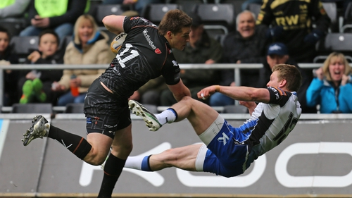 Ospreys' Jeff Hassler brushes off Connacht's Eoin Griffin on his way to scoring a try