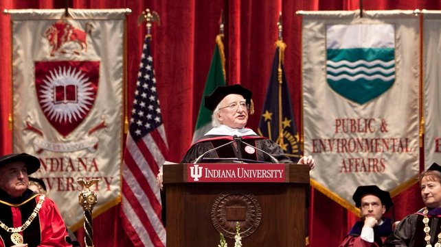 President Michael D Higgins has received an honorary doctorate from Indiana University