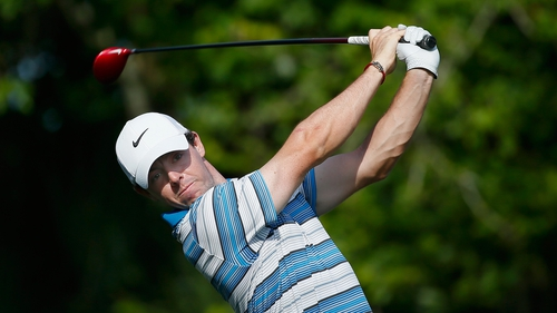 Rory McIlroy has a three shot lead over Bubba Watson and Paul Casey