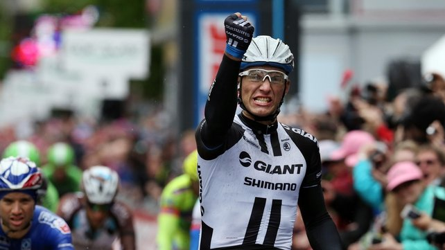 Giant-Shimano's Marcel Kittel celebrates winning the Saturday stage of the Giro d'Italia