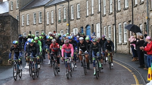Orica GreenEDGE's Michael Matthews in the Pink Jersey leads the peloton through Armagh on Sunday