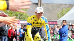 Nicolas Roche is cheered by the crowd on Sunday