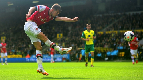 Aaron Ramsey of Arsenal scores the opening goal