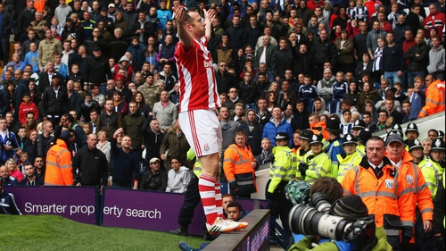Charlie Adam celebrates after scoring the winning for Stoke against West Brom