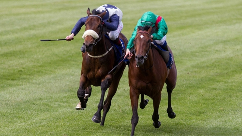 Fascinating Rock (far side) was promoted to first in the Derrinstown Stud Derby Trial following a protracted stewards' inquiry at Leopardstown