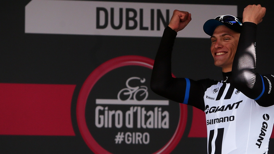 Giant-Shimano's Marcel Kittel celebrates after winning stage three on Sunday
