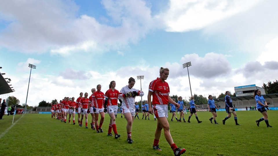 Cork and Dublin parade before the Ladies Division 1 final at Parnell Park