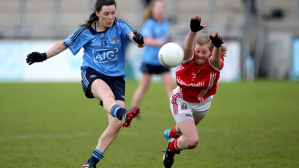 Dublin's Lyndsey Davey under the close attention on Cork's Roisín Phelan