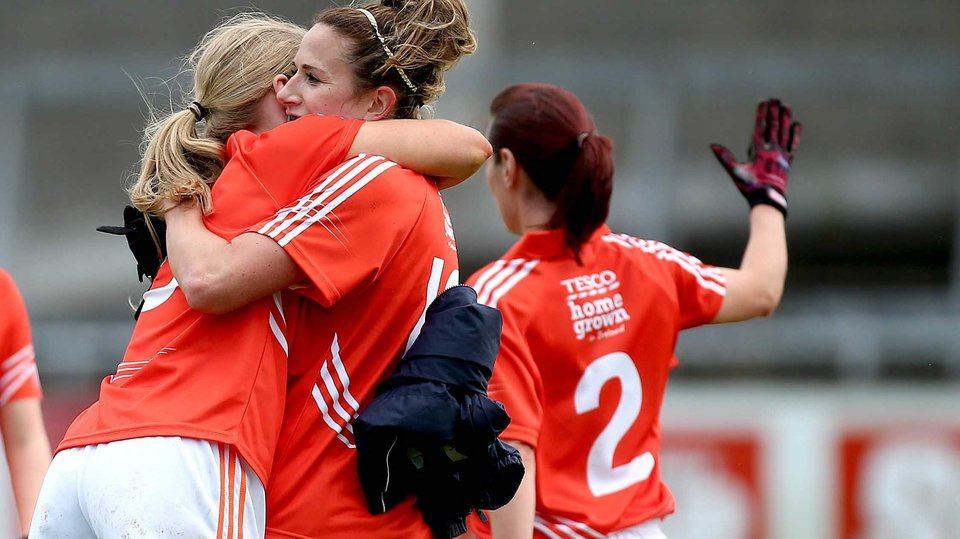 Armagh's Marian McGuinness and Sharon Reel celebrate at the final whistle of the Division 3 final