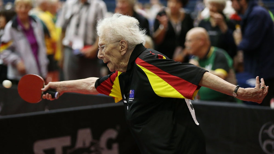 Inge-Brigitte Herrmann, 93, of Germany competes during the 2014 World Veteran Table Tennis Championships in Auckland, New Zealand