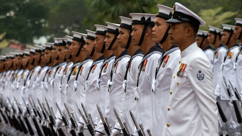Malaysia's guard of honour stands at attention during the visit of Australian Navy Chief, Vice Admiral Ray Griggs (not pictured) at the Defense Ministry in Kuala Lumpur