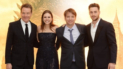 (L-R) Bryan Cranston, Elizabeth Olsen, Gareth Edwards and Aaron Taylor Johnson attend the European premiere of Godzilla