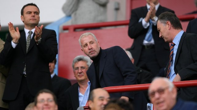 Villa chairman Randy Lerner (centre) takes his seat during the Barclays Premier League match between Aston Villa and Tottenham at Villa Park earlier this season