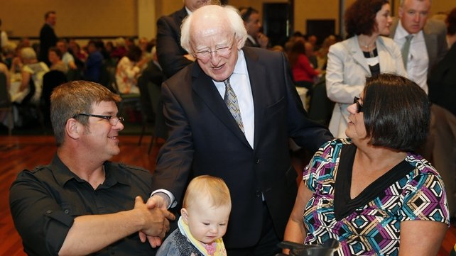 President Higgins greets members of the Irish community at the Chicago Gaelic Park