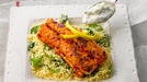 Spiced Haddock with Lemon Couscous  - Harissa paste is made from a mixture of chillies, garlic and spices and is very popular in North African cooking. This recipe also works well if you substitute curry paste for the harissa paste.