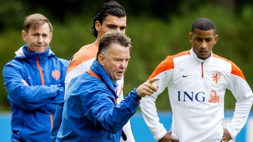 Louis Van Gaal at training with Holland today