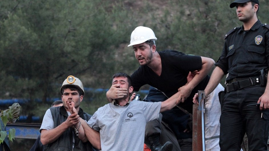 Relatives of the trapped miners gather at the mine in Soma in western Turkey