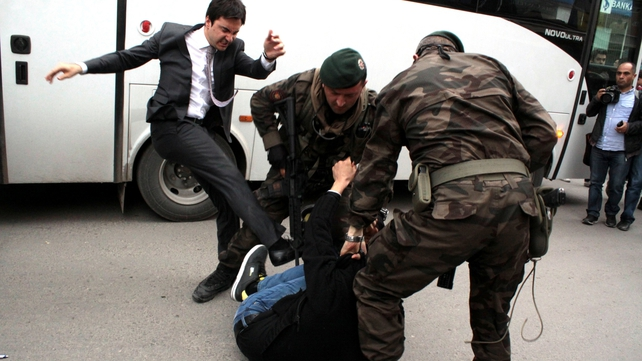 Prime ministerial aide Yusuf Yerkel was captured kicking a protester at the mine