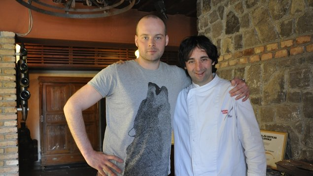 Tadhg Peavoy with Pri Lojzetu's owner and head chef Tomaž Kavcic
