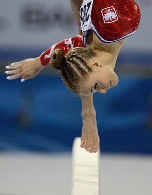 Katarzyna Jurkowska of Poland in action on the balance beam at the Artistic Gymnastics European Championships