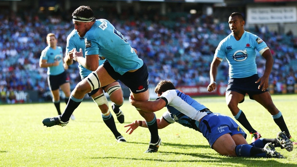 Kane Douglas in action for the Waratahs during a Super Rugby match against the Western Force