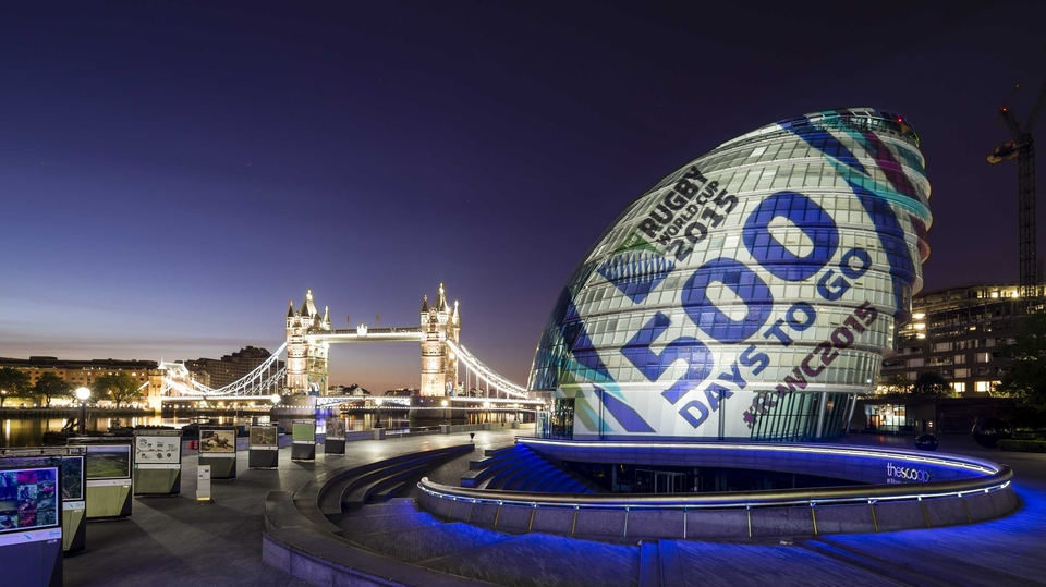 City Hall in London is transformed into a giant rugby ball to mark 500 days until the start of the 2015 Rugby World Cup