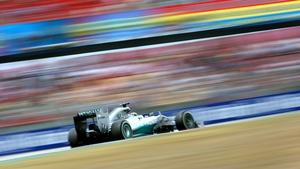 Mercedes' Lewis Hamilton flashes around the Circuit de Catalunya  during the Spanish Grand Prix