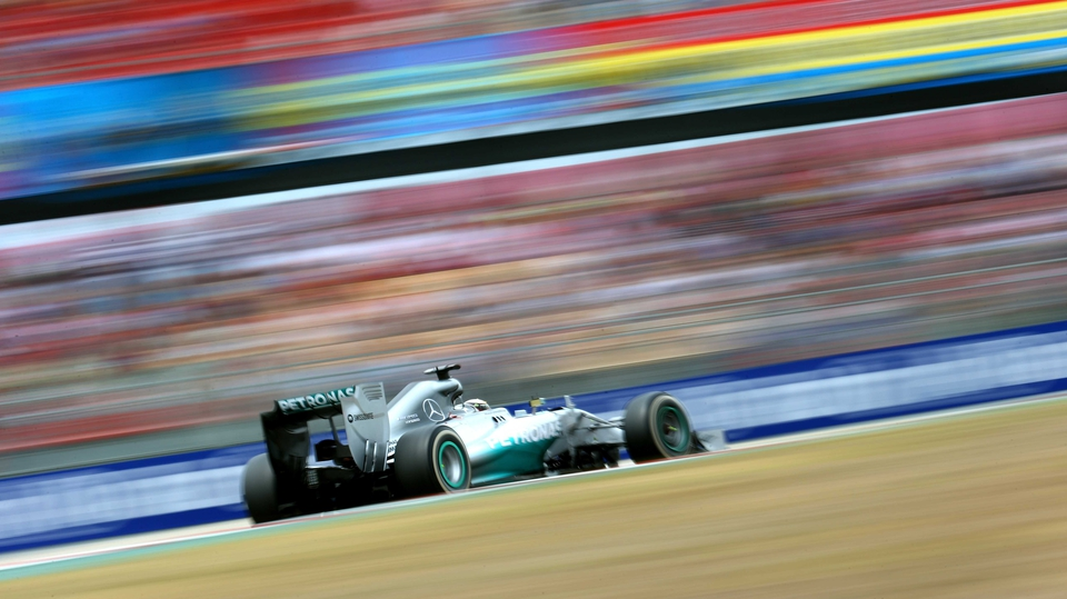Mercedes' Lewis Hamilton flashes around the Circuit de Catalunya  during the Spanish Grand Prix