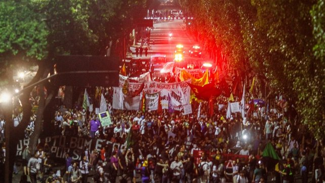 School teachers joined protesters in Rio de Janeiro