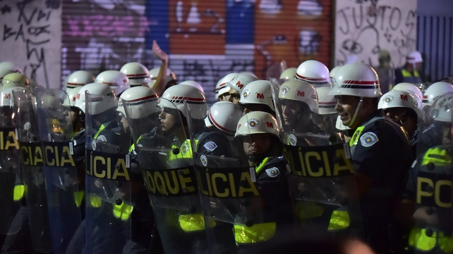 Riot police prepare to move against protesters in Sao Paulo