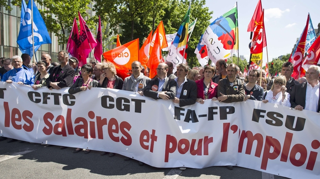 French workers were striking over austerity measures