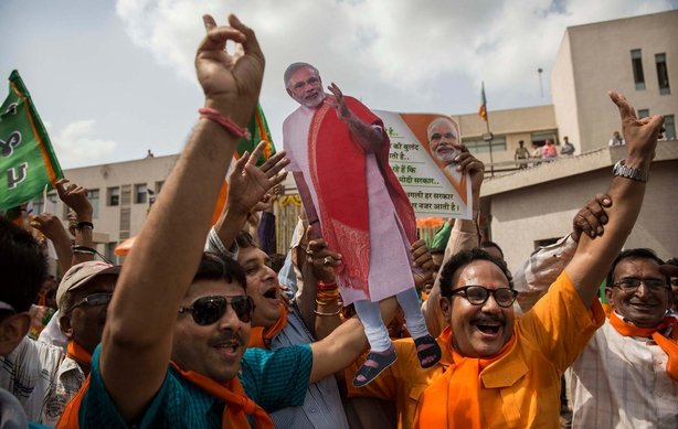 Celebrations as poll results come in in the Indian elections