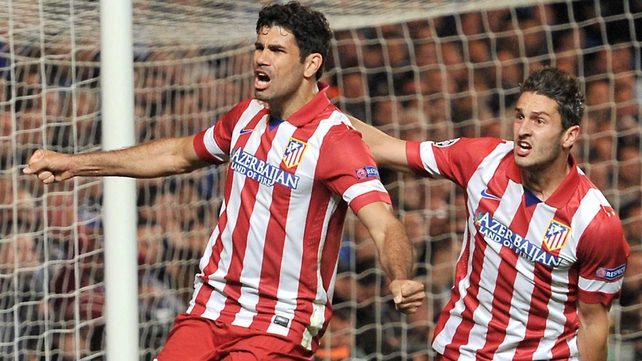 Diego Costa (l) will line out against Barcelona on Saturday