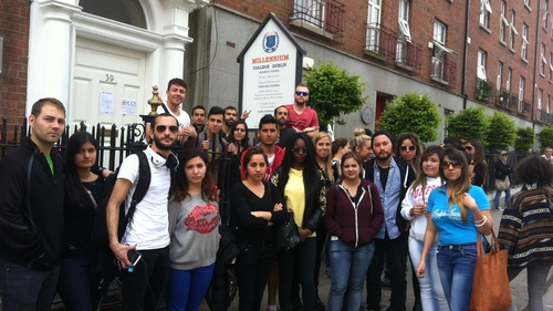 Millennium College students protest outside the school