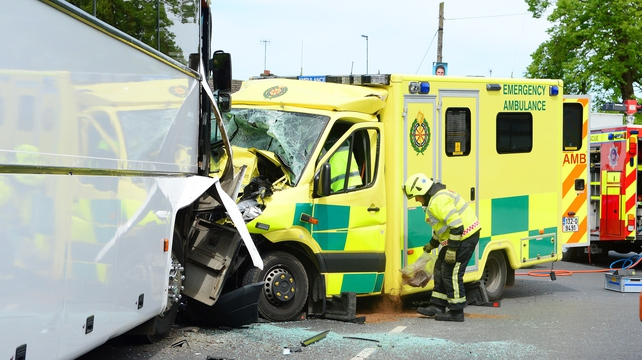 An ambulance crashed into a bus near Our Lady of Lourdes Hospital in Drogheda