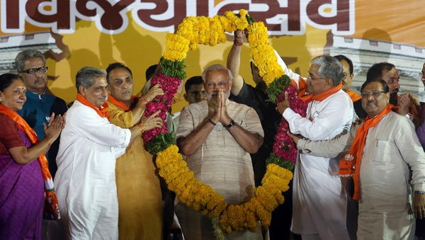 Narendra Modi addressed cheering supporters today after a landslide Indian election victory