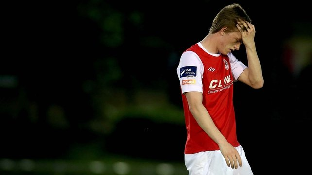Chris Forrester reacts to a missed chance