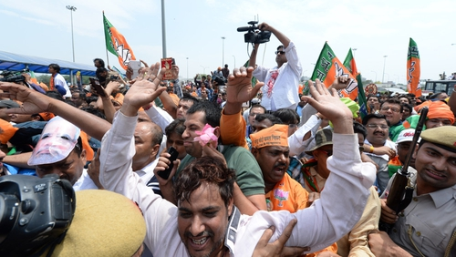 Crowds waited since early morning to see the PM-elect