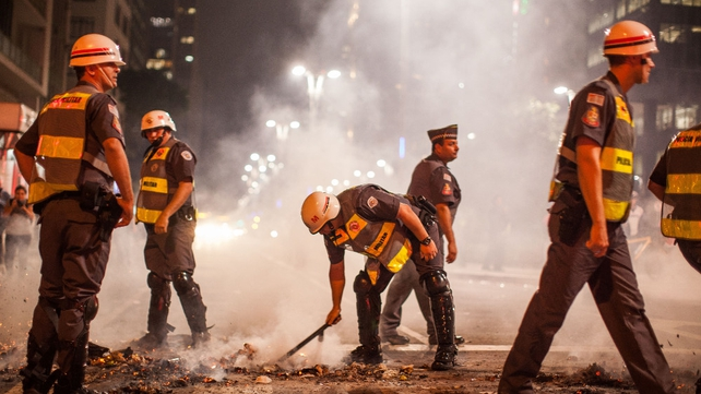 Protesters also clashed with police in Sao Paulo on Thursday night