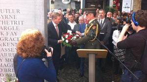 Taoiseach Enda Kenny lays a wreath at the Tablot Street on 40th anniversary of Dublin-Monaghan bombings