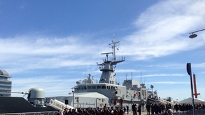 The Irish navy's newly-commissioned LE Samuel Beckett after its naming ceremony in Dublin