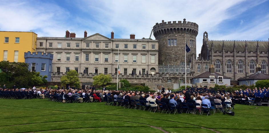 People attend the Annual Garda Memorial Day at Dublin Castle for members of the force killed in the line of duty