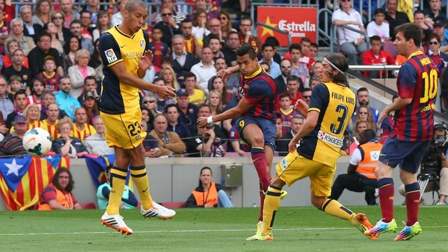 Alexis Sanchez blasts home the opening goal at the Camp Nou as Barca led 1-0 at half-time