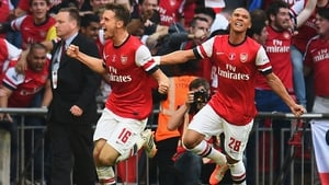 Aaron Ramsey celebrates after scoring the extra-time winner for Arsenal