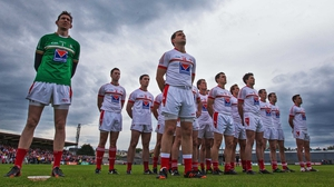 The Louth team that beat Westmeath in Mullingar line up for the national anthem