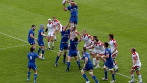 Leinster's Rhys Ruddock wins a lineout
